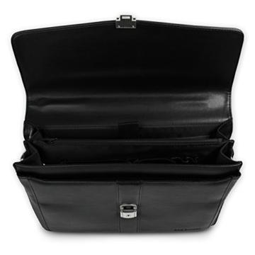 Bag Street Aktentasche Herren schwarz Kunstleder-Aktentasche Aktenkoffer Bürotasche mit Fee-Anhänger von SilberDream OTJ117S - 3