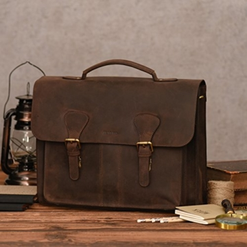LEABAGS Scottdale Aktentasche aus echtem Büffel-Leder im Vintage Look - Muskat - 7