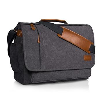 Estarer Umhängetasche / Laptoptasche 15.6 Zoll für Arbeit Uni aus Canvas Grau - 1