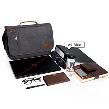 Estarer Umhängetasche / Laptoptasche 15.6 Zoll für Arbeit Uni aus Canvas Grau - 2