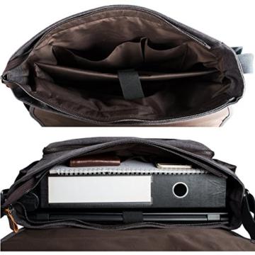 Estarer Umhängetasche / Laptoptasche 15.6 Zoll für Arbeit Uni aus Canvas Grau - 4
