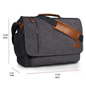 Estarer Umhängetasche / Laptoptasche 15.6 Zoll für Arbeit Uni aus Canvas Grau - 6