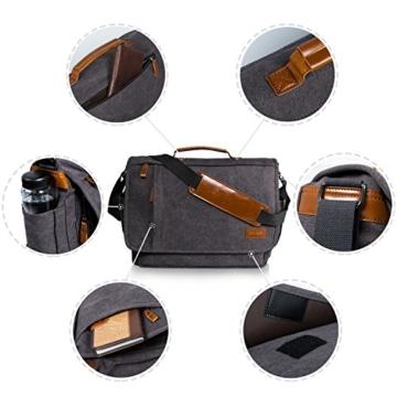 Estarer Umhängetasche / Laptoptasche 15.6 Zoll für Arbeit Uni aus Canvas Grau - 7